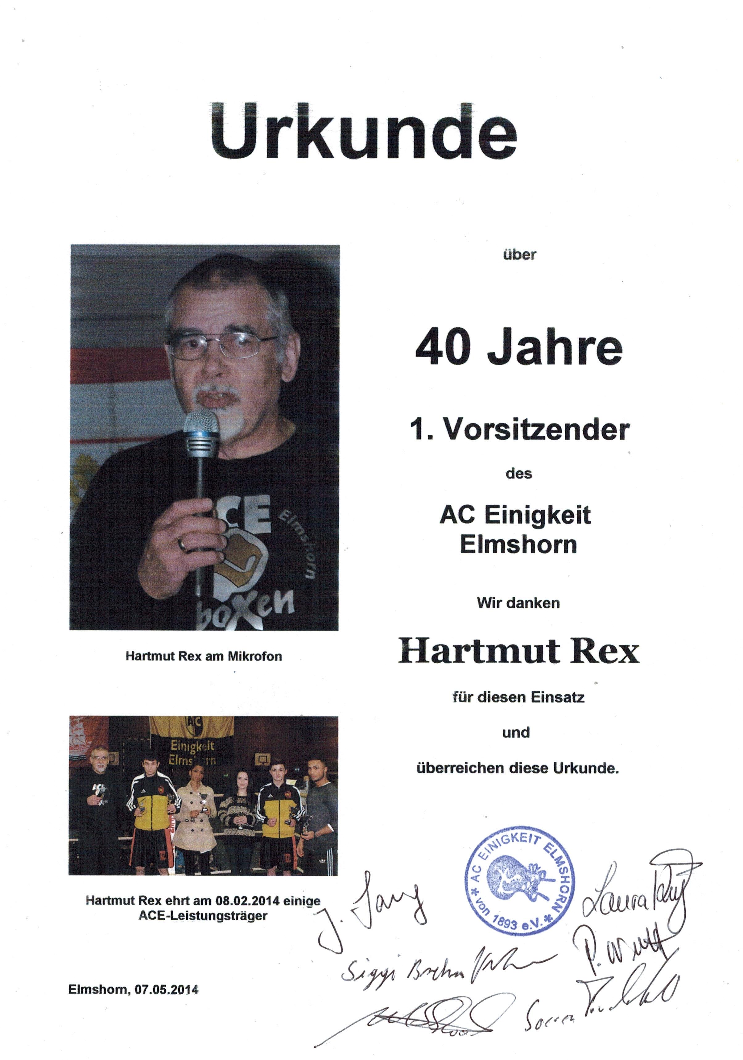 Hartmut Rex - Urkunde zu 40 Jahre 1. Vorsitzender
